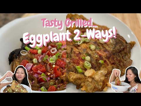 Filipino Style Grilled Eggplant Omelet and Salad Recipe