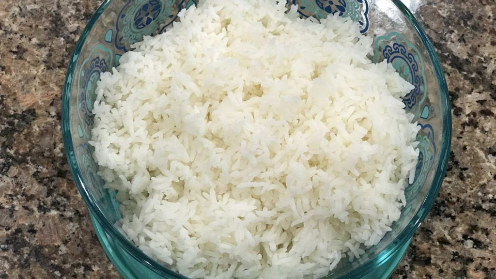 A bowl of cooked Jasmin rice