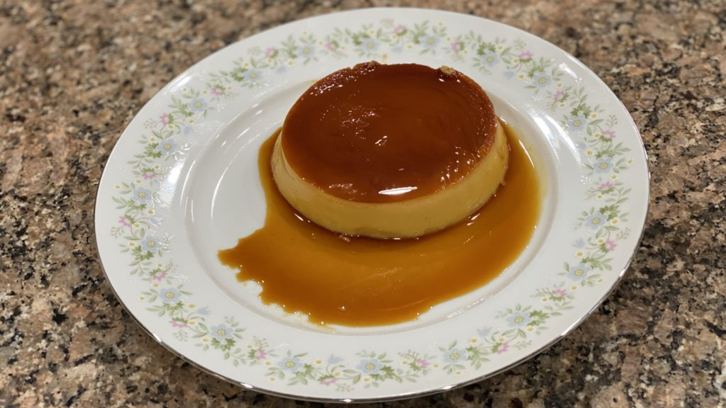 homemade leche flan on a plate