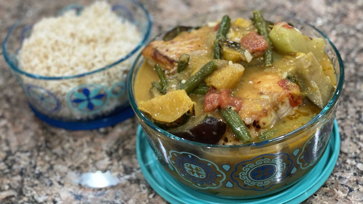 Gintaang Isad or fish filet in coconut milk with vegitables